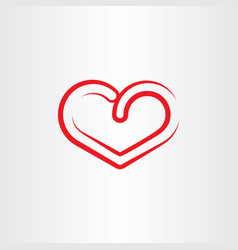 stylized red heart symbol icon element vector image