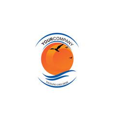 Sun logo summer wave graphic design vector