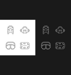 swimming pool supplies linear icons set for dark vector image