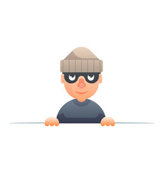Thief peeping out of the cartoon characters set vector