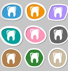 Tooth symbols Multicolored paper stickers vector image