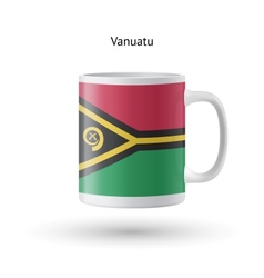 Vanuatu flag souvenir mug on white background vector