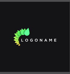 vibrant neon abstract modern leaf logo icon vector image