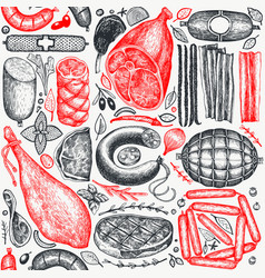 vintage meat products seamless pattern hand drawn vector image