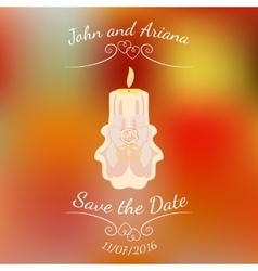Wedding beige burning candle over abstract vector