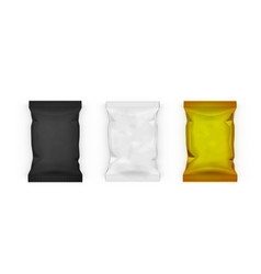 White black and gold pillow bag packages for vector