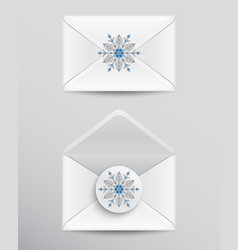 white envelopes with snowflake vector image