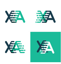 Xa letters logo with accent speed green and blue vector