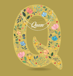 Yellow letter q with floral decor and necklace vector