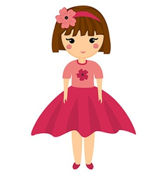 Baby Doll Very Cute Girl in Pink Clothes Little vector image vector image