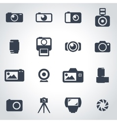 black camera icon set vector image