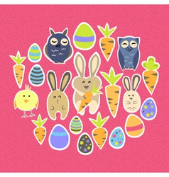 Easter set on a pink vector image