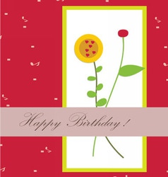 Happy birthday with flower beautiful vector image