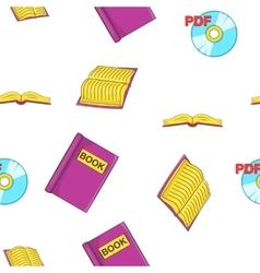 Reading books pattern cartoon style vector