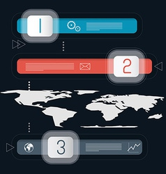 Three Steps Infographics Template with World Map vector image