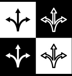 three-way direction arrow sign black and vector image