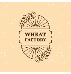 Wheat factory field logo line art icon vector image vector image