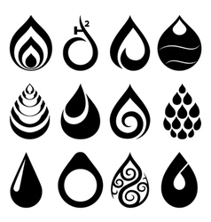 drop icons and signs set vector image vector image