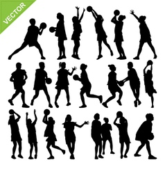 Netball player silhouettes vector