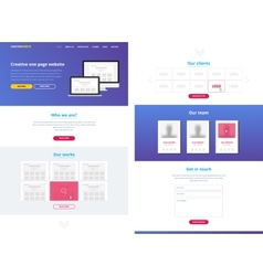 One page website design template vector image vector image