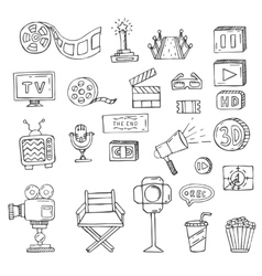 set of hand drawn cinema doodles vector image