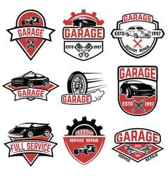 set of vintage car service labels design elements vector image vector image