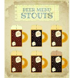 Vintage Beer Card Stouts vector image vector image