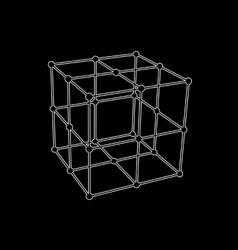 Wireframe mesh polygonal element Cube with vector image