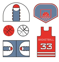 Basketball red items vector image vector image