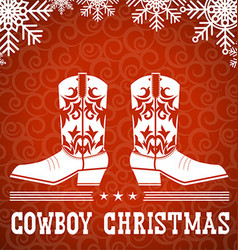 Cowboy red christmas card with text and snowflakes vector image