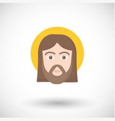 jesus christ portrait flat icon vector image