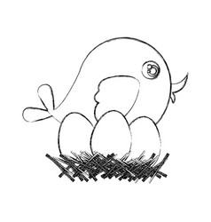 monochrome sketch of bird in nest with eggs in vector image vector image