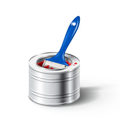 paint can with red color and brush vector image