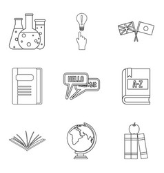 teaching activity icons set outline style vector image vector image