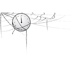 clock entangled in spiderweb vector image vector image