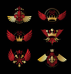 imperial crowns and vintage stars emblems set vector image