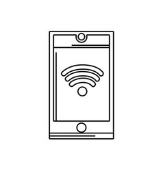 line smartphone technology with wifi connection vector image vector image