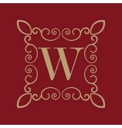 Monogram letter W Calligraphic ornament Gold vector image vector image