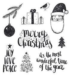 set of hand drawn christmas vector image