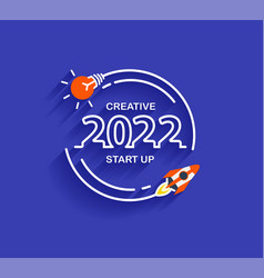 2022 new year startup business rocket launch vector