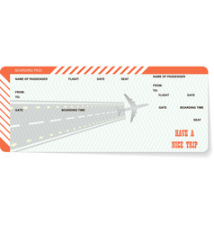 airplane ticket blank orange boarding pass vector image