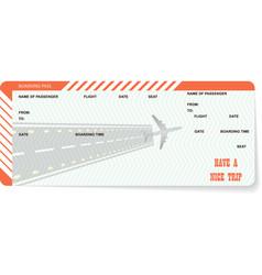 Airplane ticket blank orange boarding pass vector