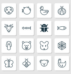 animal icons set with rat puppy bumblebee and vector image