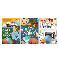 back to school education and college study posters vector image