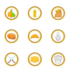 Bakery icon set cartoon style vector