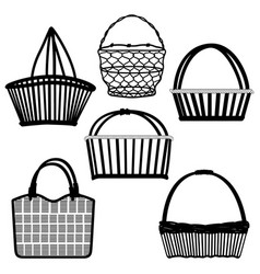 basket bag container wired wooden a sketch of vector image