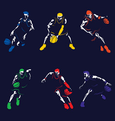 Basketball player silhouette collection set vector