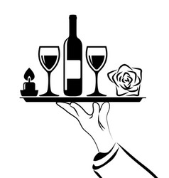 Black and white catering icon of waiters hand vector