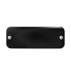 Black painted metal plate with screws isolated on vector