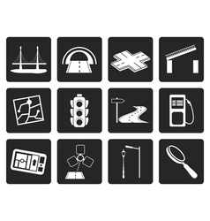 Black Road navigation and travel icons vector
